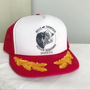 VINTAGE Cattle Farming 1980s Snapback Trucker Hat